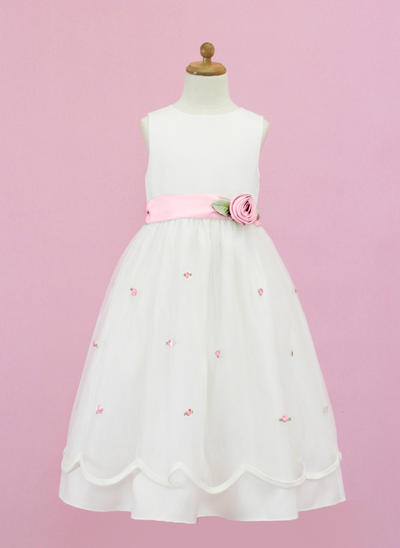 Princess Floor-length A-Line/Princess Flower Girl Dresses Scoop Neck Organza/Satin Sleeveless (010005335)
