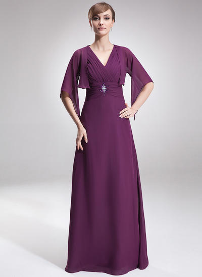 A-Line/Princess V-neck Chiffon Sleeveless Floor-Length Ruffle Beading Mother of the Bride Dresses (008006189)