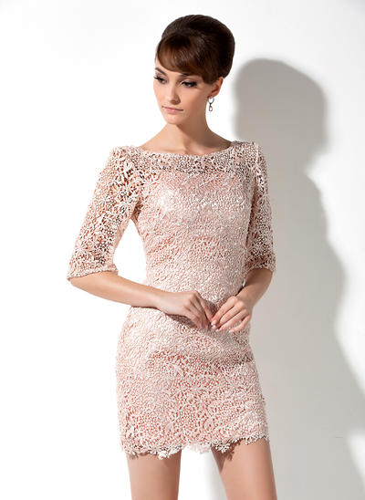 Sheath/Column Scoop Neck Lace 3/4 Sleeves Short/Mini Mother of the Bride Dresses (008006235)