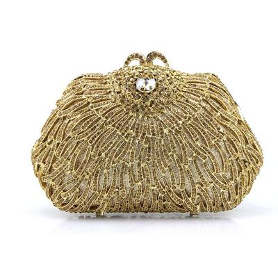 Clutches/Wristlets Wedding/Ceremony & Party Satin/Acrylic Clip Closure Shining Clutches & Evening Bags (012186546)