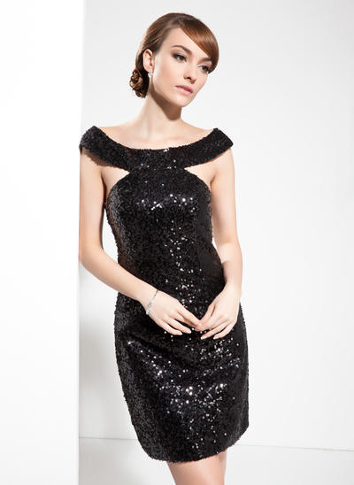 Sheath/Column Off-the-Shoulder Sequined Sleeveless Knee-Length Cocktail Dresses (016211039)
