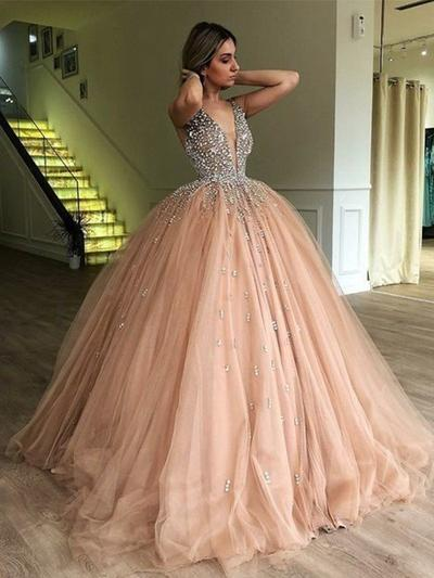 Ball-Gown V-neck Tulle Sleeveless Sweep Train Beading Evening Dresses (017219229)