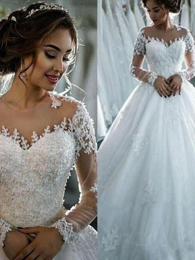 Simple Cathedral Train Ball-Gown Wedding Dresses Scoop Tulle Long Sleeves (002147917)