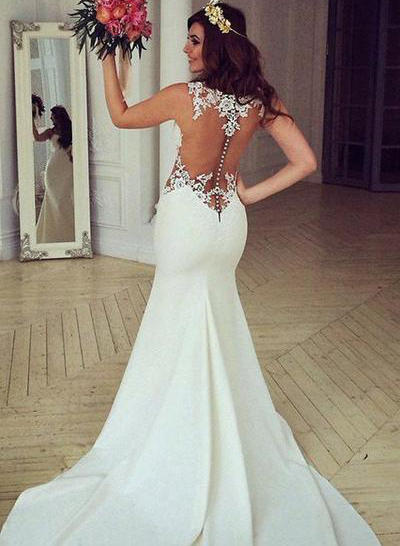 Gorgeous Chapel Train Trumpet/Mermaid Wedding Dresses Scoop Satin Sleeveless (002144927)