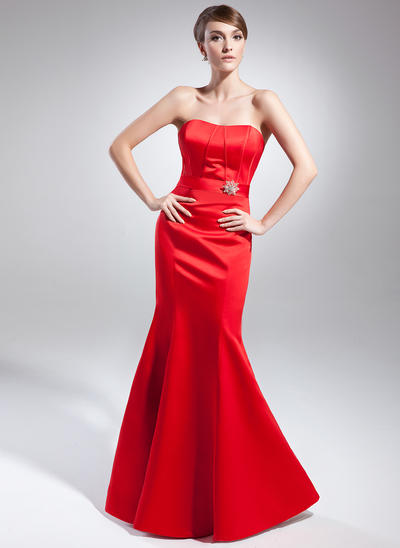Trumpet/Mermaid Sweetheart Satin Sleeveless Floor-Length Crystal Brooch Evening Dresses (017015002)