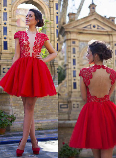 A-Line/Princess V-neck Tulle Short Sleeves Short/Mini Homecoming Dresses (022212336)