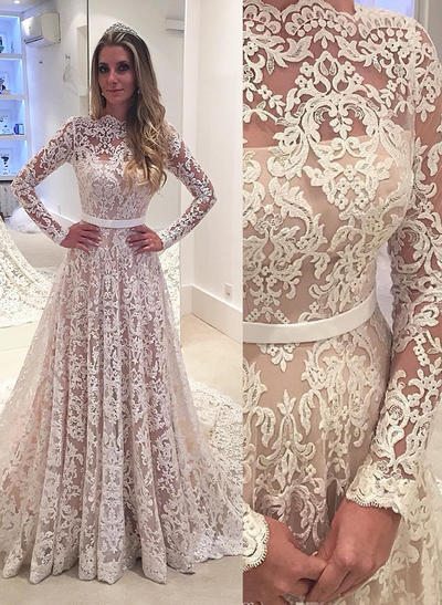 Glamorous Court Train A-Line/Princess Wedding Dresses Scalloped-Edge Lace Long Sleeves (002148242)