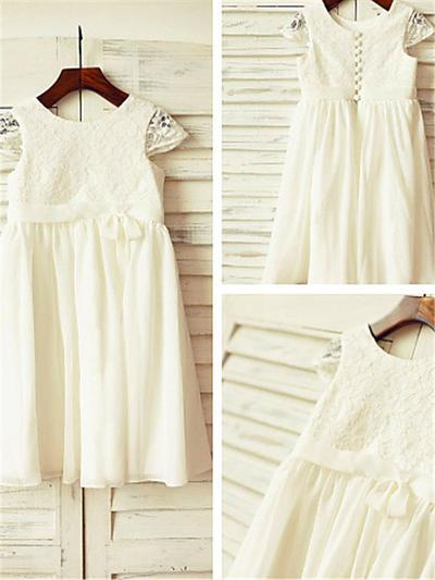 Glamorous Tea-length A-Line/Princess Flower Girl Dresses Scoop Neck Chiffon Sleeveless (010211996)