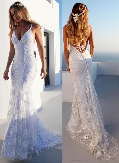 Modern Court Train Trumpet/Mermaid Wedding Dresses V-neck Tulle Sleeveless (002218070)