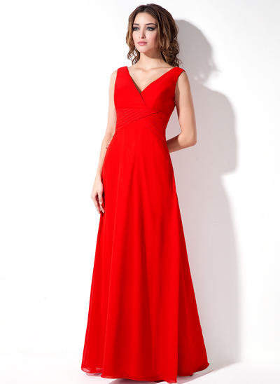 Chiffon Sleeveless A-Line/Princess Bridesmaid Dresses V-neck Ruffle Floor-Length (007001861)