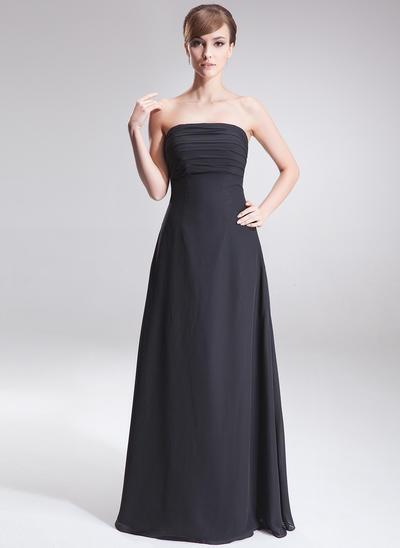 Chiffon Sleeveless A-Line/Princess Bridesmaid Dresses Strapless Ruffle Floor-Length (007197116)