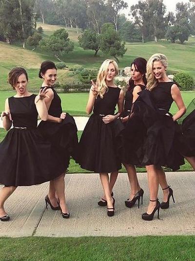 Satin Sleeveless A-Line/Princess Bridesmaid Dresses Scoop Neck Ruffle Knee-Length (007211589)