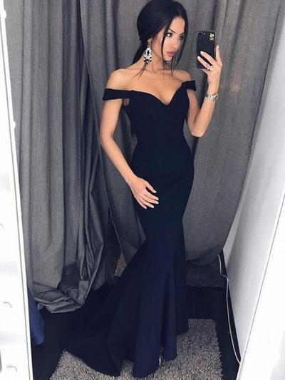 Stretch Crepe Sleeveless Trumpet/Mermaid Prom Dresses Off-the-Shoulder Ruffle Sweep Train (018219249)