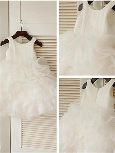 Delicate Knee-length Ball Gown Flower Girl Dresses Scoop Neck Organza Sleeveless (010211861)
