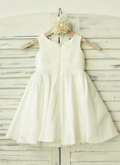 Sexy Knee-length A-Line/Princess Flower Girl Dresses Scoop Neck Taffeta Sleeveless (010210167)
