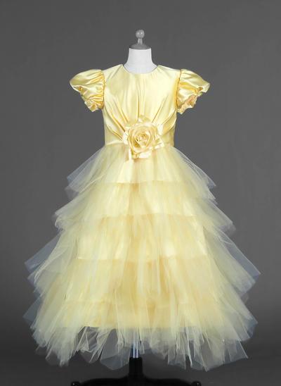 Elegant Ankle-length A-Line/Princess Flower Girl Dresses Scoop Neck Tulle/Charmeuse Short Sleeves (010007294)