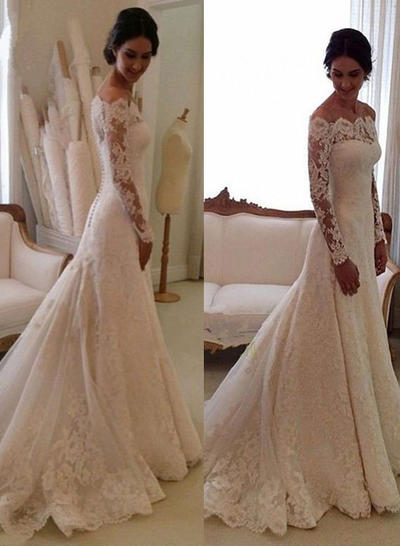 Glamorous Chapel Train Trumpet/Mermaid Wedding Dresses Off-The-Shoulder Tulle Lace Long Sleeves (002146273)