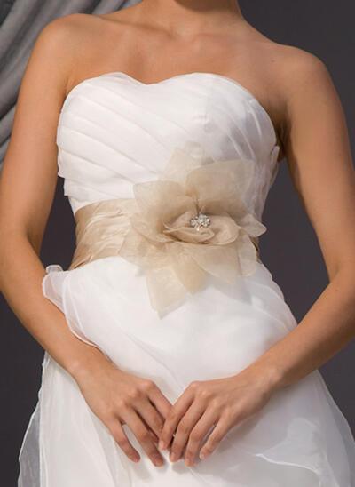 Women Taffeta/Organza With Beading/Flower Sash Elegant Sashes & Belts (015190960)