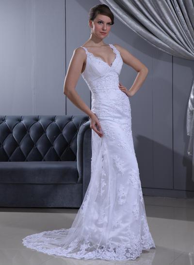 Magnificent Sweep Train Sheath/Column Wedding Dresses Sweetheart Lace Sleeveless (002196856)