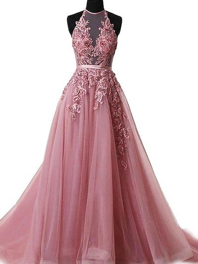 Tulle Sleeveless A-Line/Princess Prom Dresses Halter Appliques Lace Sweep Train (018210924)