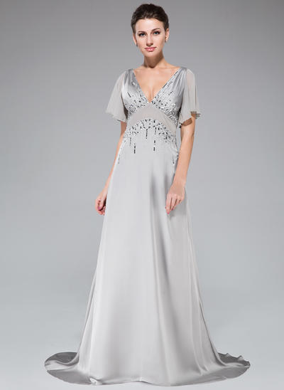 A-Line/Princess V-neck Satin Chiffon 1/2 Sleeves Sweep Train Beading Sequins Cascading Ruffles Evening Dresses (017201509)