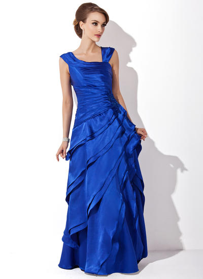 A-Line/Princess V-neck Charmeuse Sleeveless Floor-Length Cascading Ruffles Mother of the Bride Dresses (008211213)