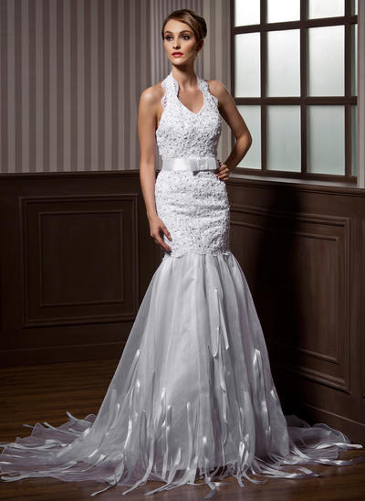 Magnificent Court Train Trumpet/Mermaid Wedding Dresses Halter Organza Sleeveless (002211327)