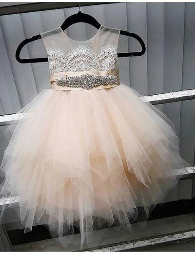 Gorgeous Knee-length A-Line/Princess Flower Girl Dresses Scoop Neck Tulle Sleeveless (010146776)
