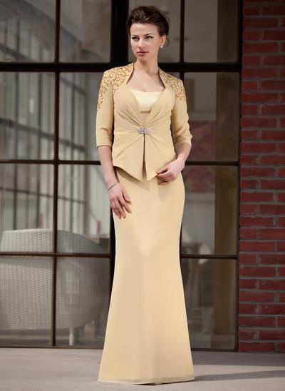 Trompete/Meerjungfrau-Linie Schatz Chiffon Charmeuse Ärmellos Bodenlang Kleider für die Brautmutter (008211451)