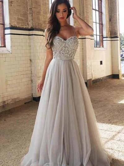 Tulle Sleeveless A-Line/Princess Prom Dresses Sweetheart Beading Sweep Train (018218463)