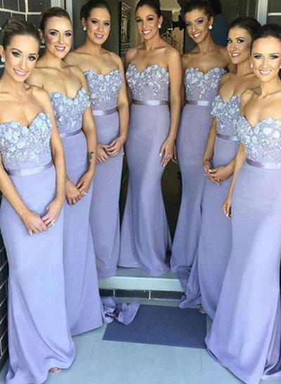 Lace Jersey Sleeveless Trumpet/Mermaid Bridesmaid Dresses Sweetheart Flower(s) Sweep Train (007145111)