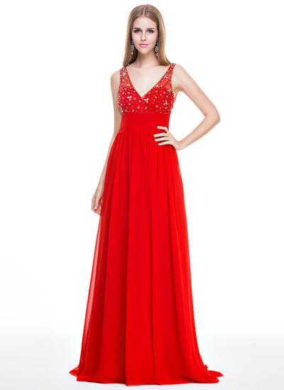 Chiffon Sleeveless Empire Prom Dresses V-neck Beading Sequins Sweep Train (018058779)