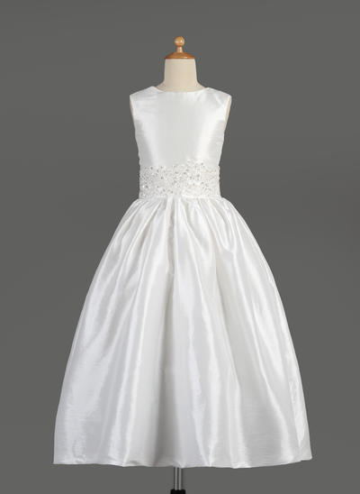 Elegant Knöchellang A-Linie/Princess-Linie Blumenmädchenkleider U-Ausschnitt Taft Ärmellos (010014609)