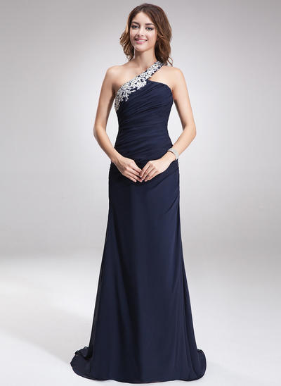 A-Line/Princess One-Shoulder Chiffon Sleeveless Sweep Train Beading Appliques Lace Evening Dresses (017016875)