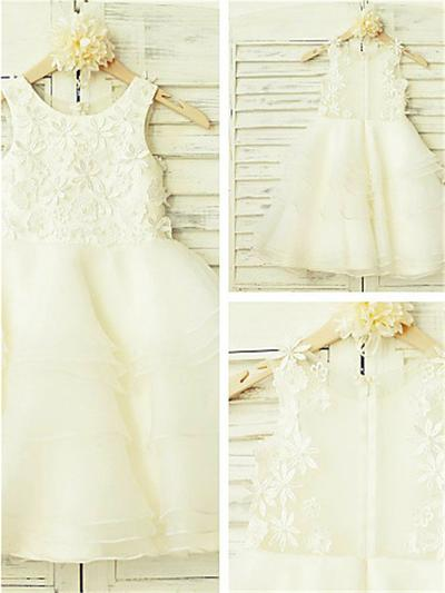 Modern Tea-length A-Line/Princess Flower Girl Dresses Scoop Neck Organza/Tulle Sleeveless (010211883)