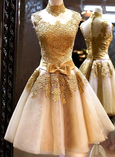 Tulle Sleeveless A-Line/Princess Prom Dresses High Neck Bow(s) Knee-Length (018148324)