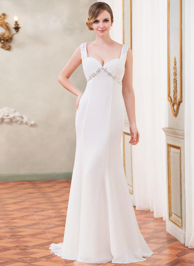 Magnificent Watteau Train Trumpet/Mermaid Wedding Dresses Sweetheart Chiffon Sleeveless (002210555)