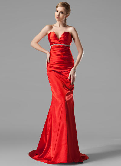 Trumpet/Mermaid V-neck Charmeuse Sleeveless Sweep Train Ruffle Beading Evening Dresses (017002534)