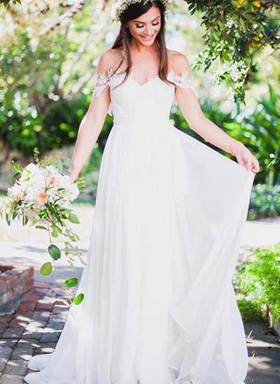 Princess Sweep Train A-Line/Princess Wedding Dresses Off-The-Shoulder Chiffon Sleeveless (002146964)