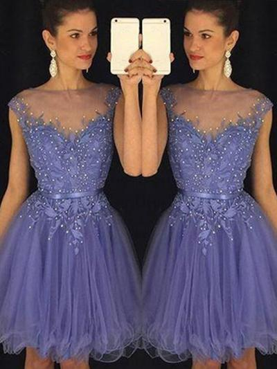 A-Line/Princess Scoop Neck Tulle Sleeveless Knee-Length Beading Homecoming Dresses (022212305)