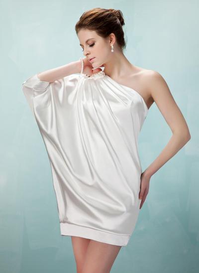 Sheath/Column One-Shoulder Charmeuse 1/2 Sleeves Short/Mini Ruffle Beading Cocktail Dresses (016021260)
