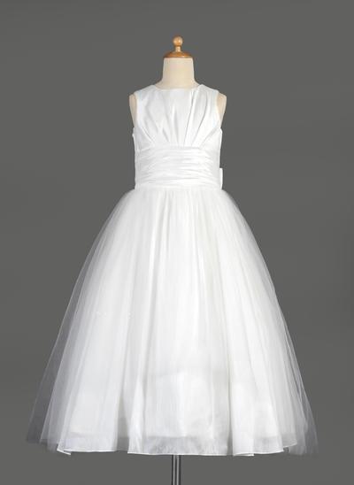 Princess Tea-length Empire Flower Girl Dresses Scoop Neck Taffeta/Tulle Sleeveless (010014642)