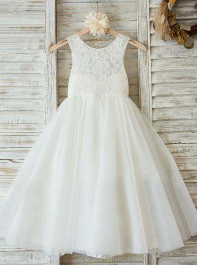 Flattering Ankle-length A-Line/Princess Flower Girl Dresses Scoop Neck Chiffon/Lace Sleeveless (010146858)