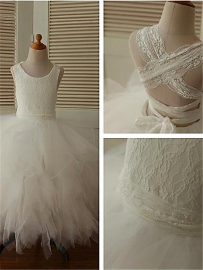 Sweetheart Ankle-length Ball Gown Flower Girl Dresses Scoop Neck Tulle Sleeveless (010211742)