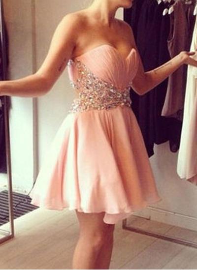 A-Line/Princess Sweetheart Chiffon Sleeveless Short/Mini Beading Sequins Cocktail Dresses (016145293)