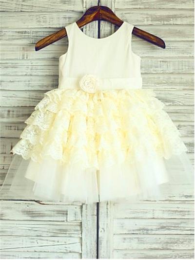 Gorgeous Knee-length A-Line/Princess Flower Girl Dresses Scoop Neck Satin/Tulle Sleeveless (010212033)