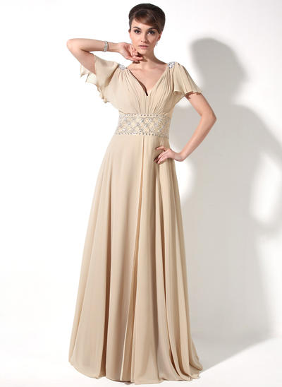 A-Line/Princess V-neck Chiffon Short Sleeves Floor-Length Beading Cascading Ruffles Mother of the Bride Dresses (008211220)