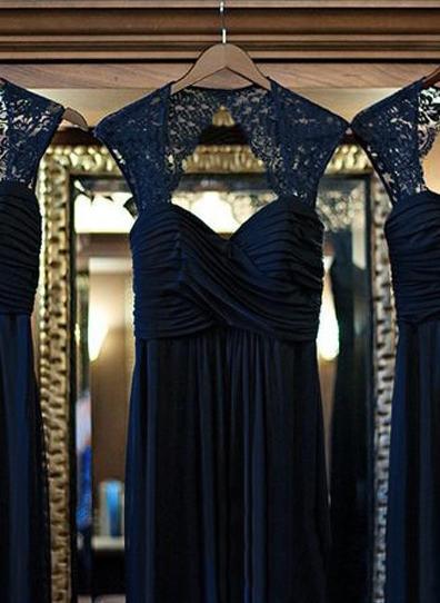 Chiffon Sleeveless A-Line/Princess Bridesmaid Dresses Sweetheart Ruffle Lace Floor-Length (007144973)