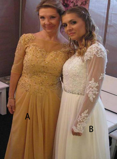 Scoop Neck Chiffon 1/2 Sleeves Floor-Length Ruffle Appliques Lace Mother of the Bride Dresses (008212719)