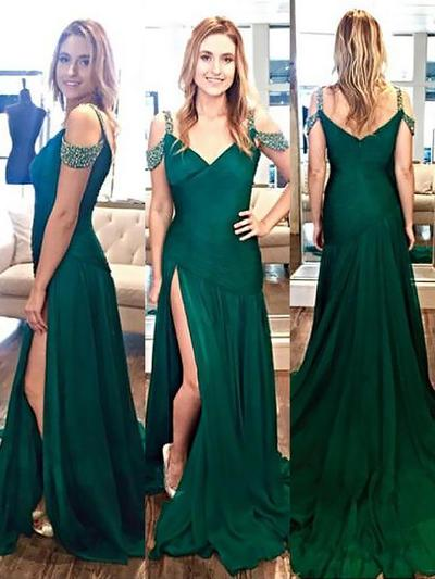 A-Line/Princess V-neck Satin Sleeveless Sweep Train Beading Split Front Evening Dresses (017210887)
